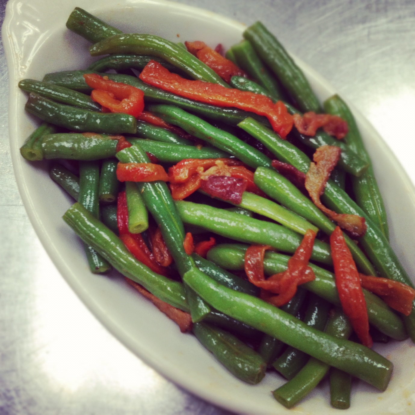 Green Beans with Roasted Peppers and Bacon