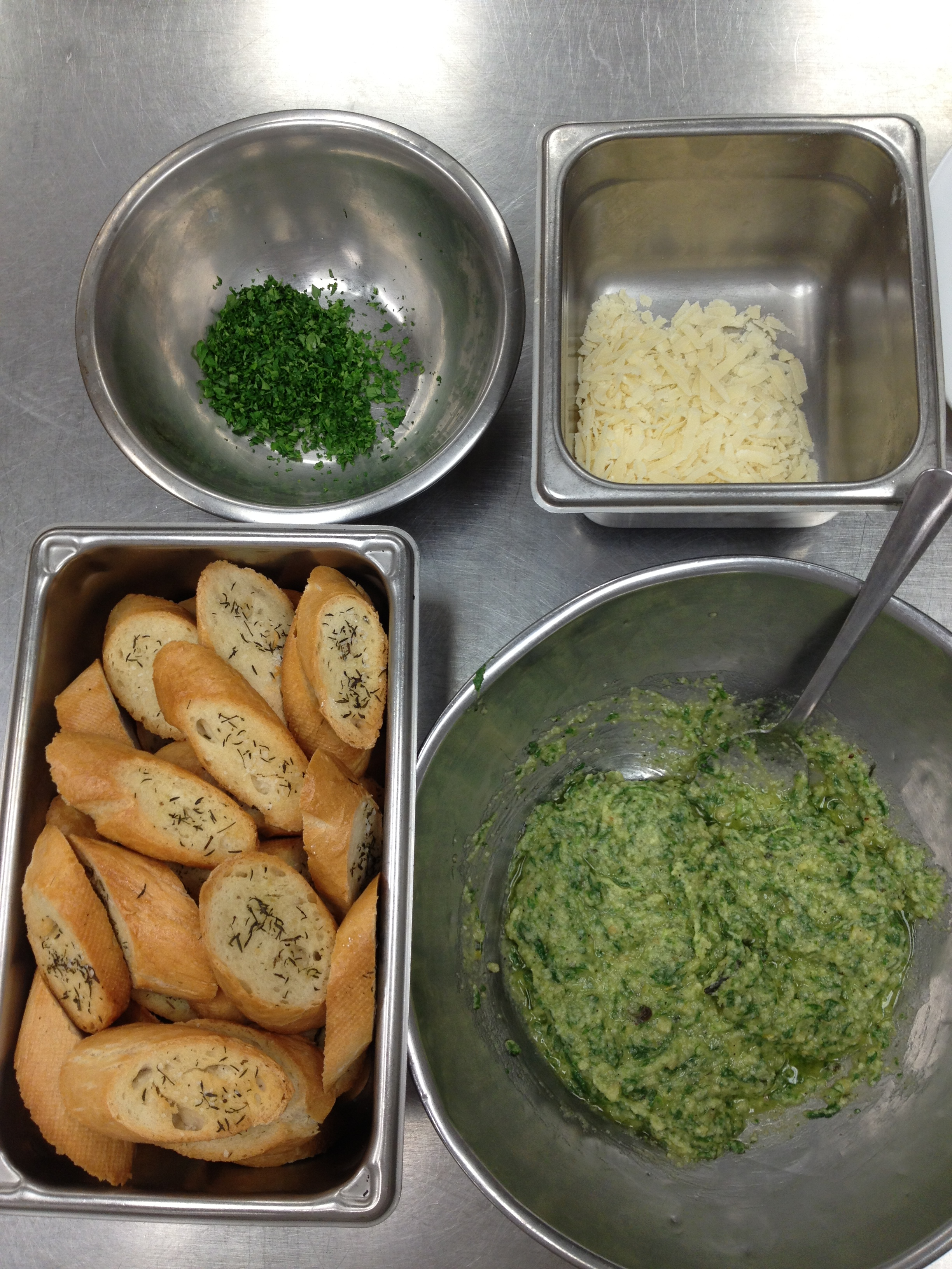 Pesto, Parmesan, Parsley, and Bread