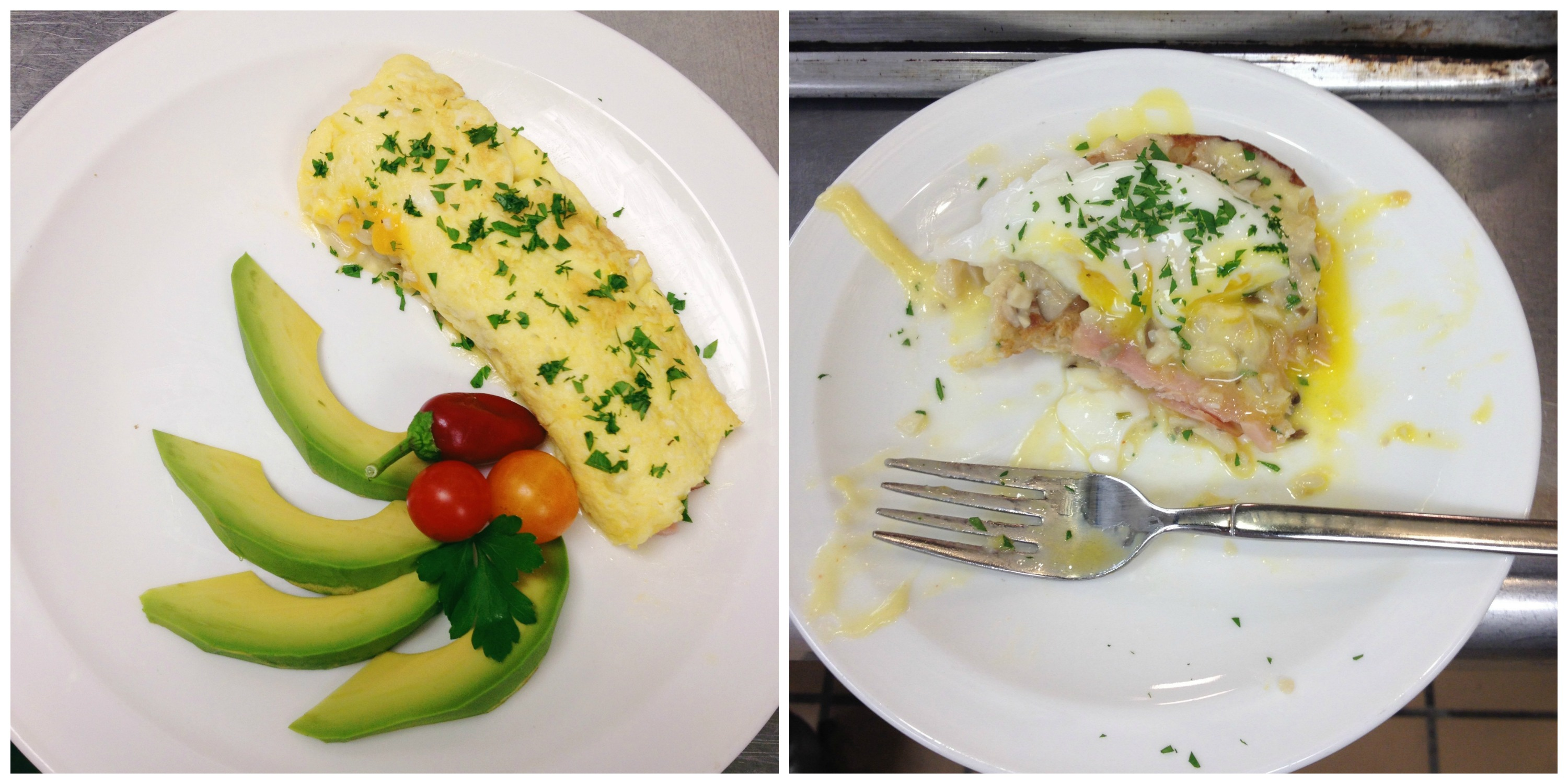 French Omelet + Eggs Benedict