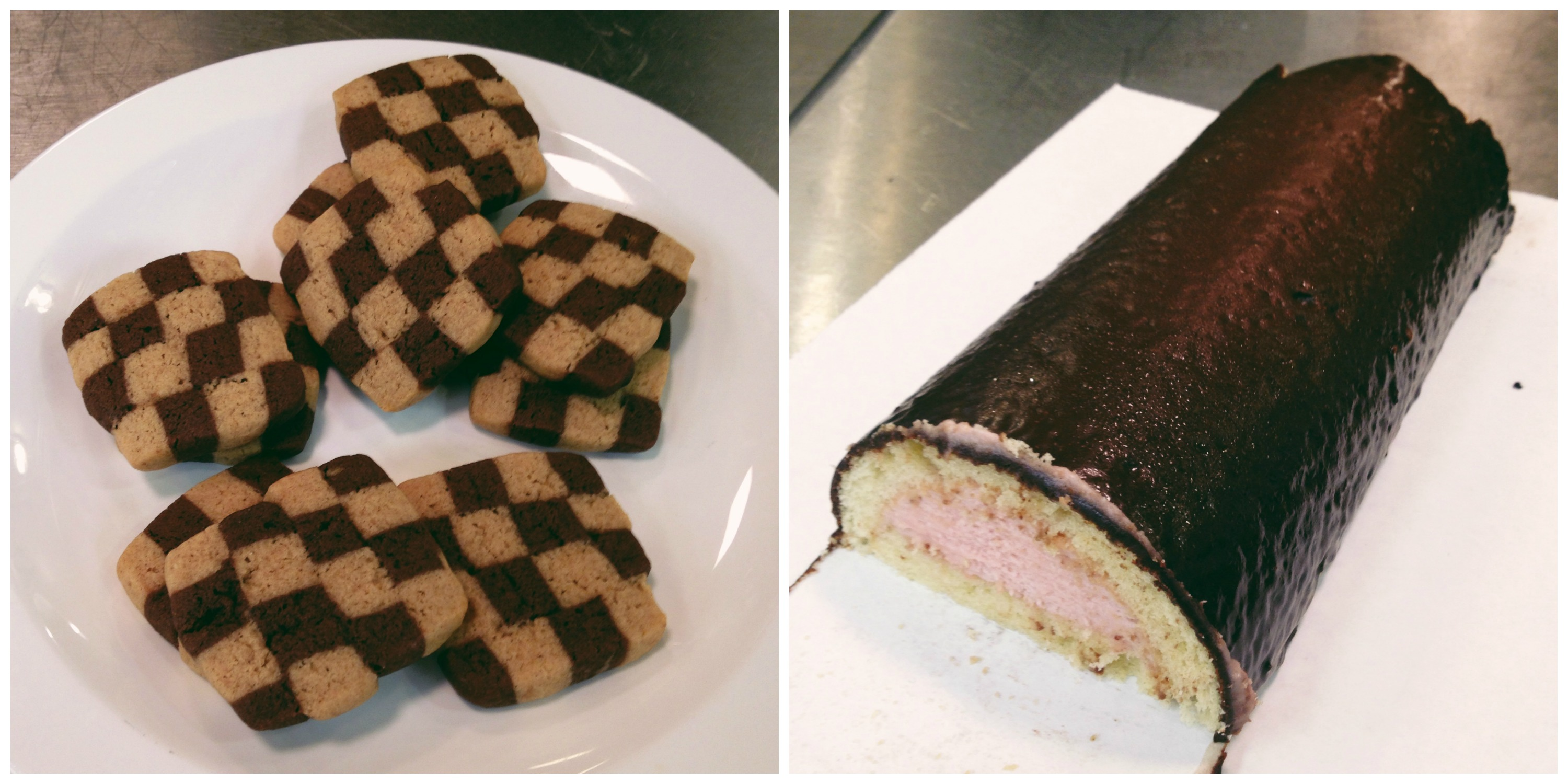 Checkerboard Cookies and a Strawberry Filled Cake