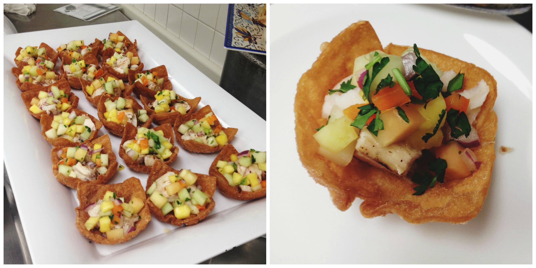 Grilled Mah-Mahi with Fruit Salsa in Wonton Shells