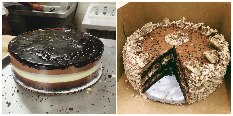Chocolate Bavarois + Chocolate Praline Cake