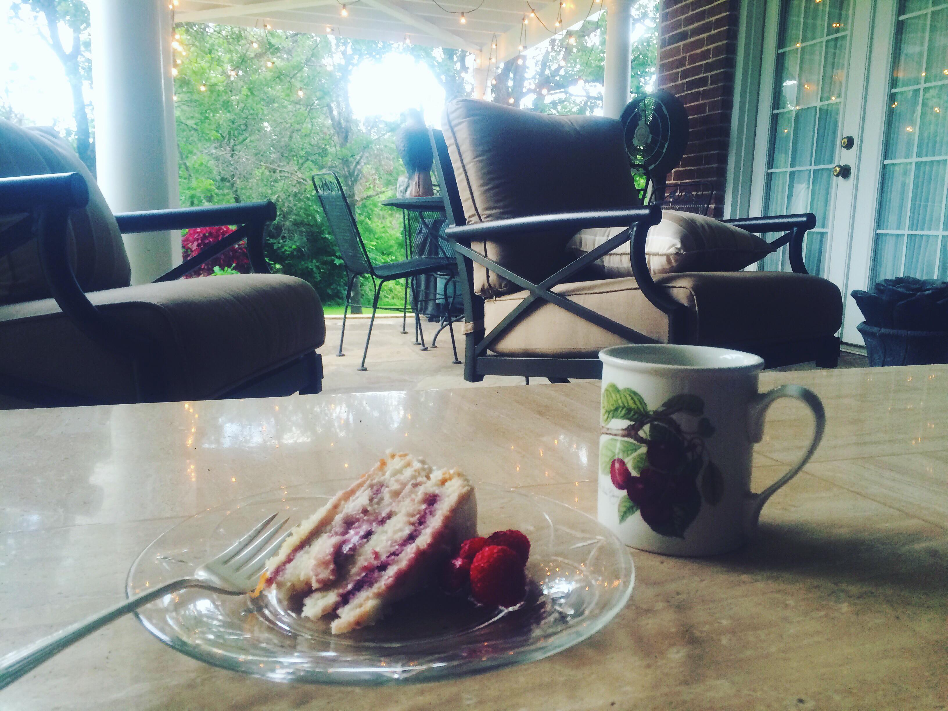Coffee + Raspberry Cake on the Porch